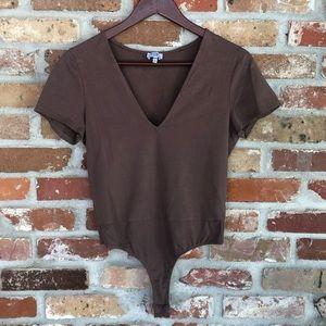 Tobi Brown V-Neck Bodysuit